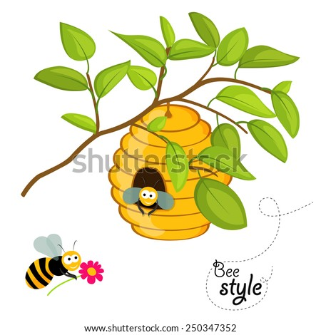 Flat design illustration of a beehive on a tree branch, with cute honey bee looking from the entrance of the hive and another honey bee carrying a flower. In vector