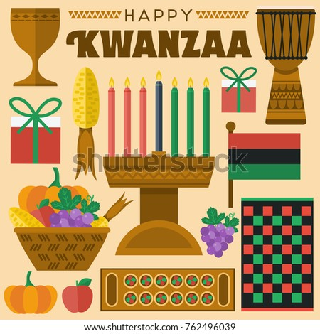 Flat design, Illustration of Kwanzaa icons and elements, Vector