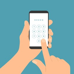 Flat design illustration of male hand holding mobile phone. Enter the PIN code on the numeric keypad of the touch screen - vector