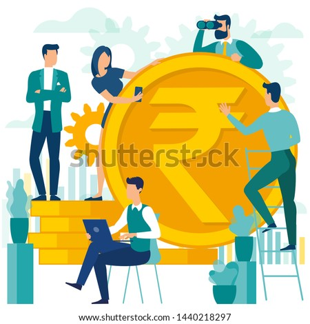 Flat design indian rupee vector illustration of people are making money. Vector flat template for  financial services, bankers are engaged in work, saving or accumulating money, investment an savings.