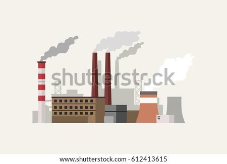 Flat design industrial landscape with factory vector illustration