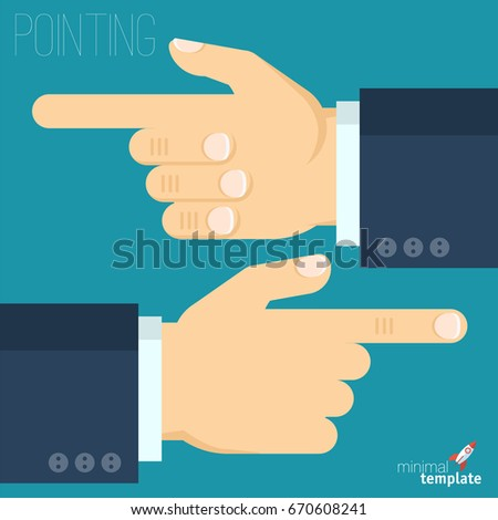 Flat design interface vector icon of hand with finger pointing direction. Pointing finger showing right direction, the sign of how to and where, icon for application, presentation and web design
