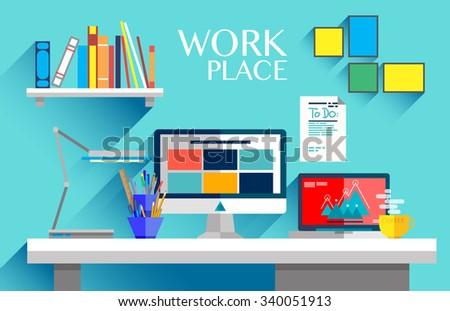 flat design interior concept of