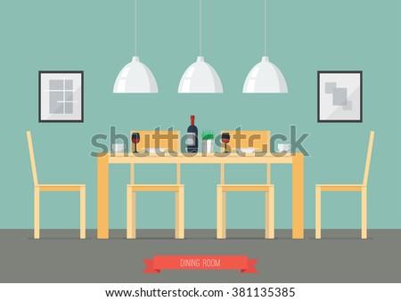 flat design interior dining