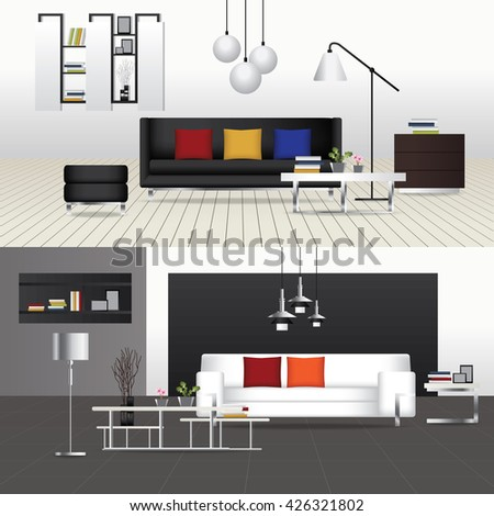 flat design interior living