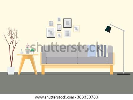 flat design interior living