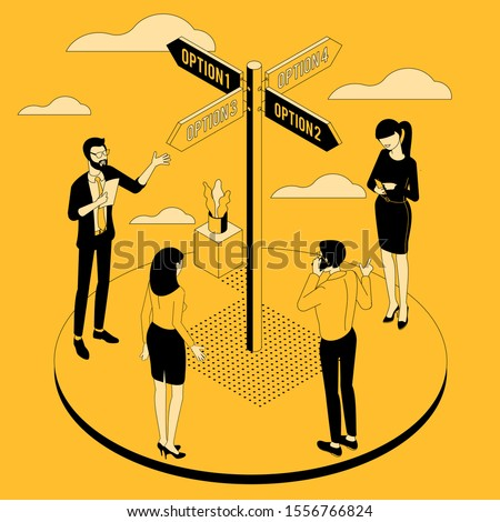 Flat design isometric concept for decision technology and effective solution with directional sign and people choosing a pathю