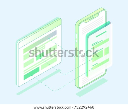 Flat design Isometric Prototype of site page and mobile version. Sketch mobile website. Interface UI, vector illustration