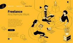 Flat design isometric vector illustration of young man and woman creative communication in the modern co-working. Trendy color concept of   teamwork and workflow for presentation, website and app design