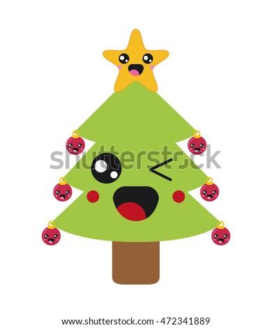 flat design kawaii christmas