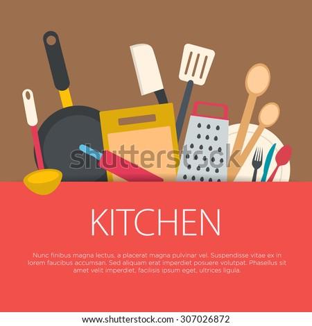 Flat design kitchen concept. Kitchen equipment background. Vector illustration.