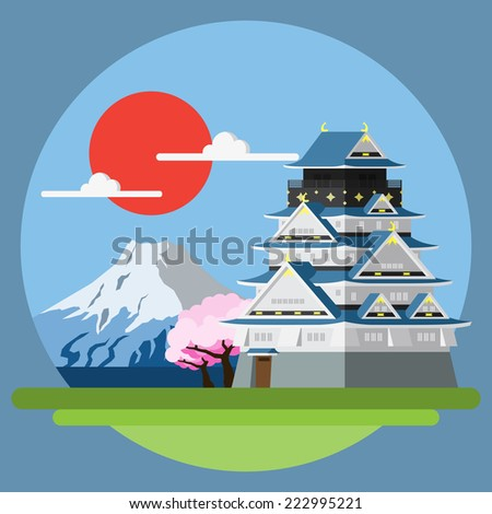 flat design landscape of japan