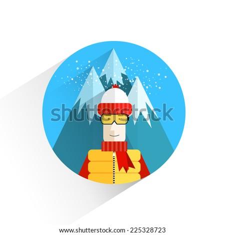 Flat design.Landscape.Sports.Winter holidays.Vector illustration.
