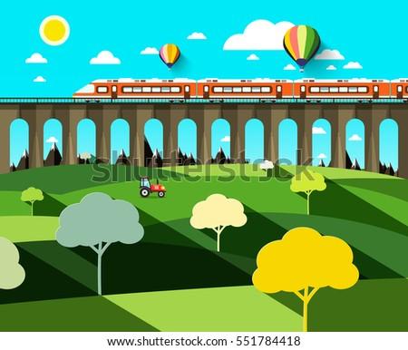 flat design landscape with