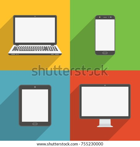 Flat design long shadow styled modern vector icon set of gadgets and devices