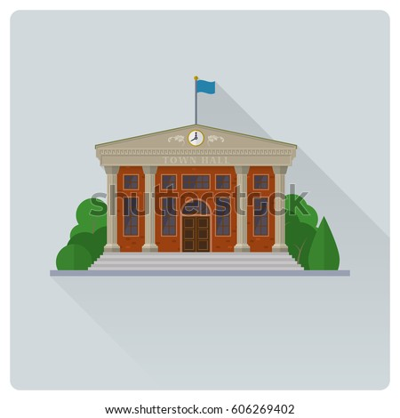 flat design long shadow town hall building vector illustration