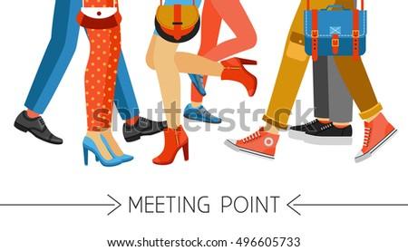 flat design men and women legs