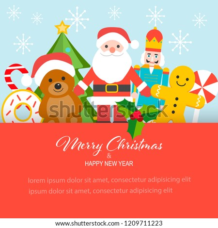 Flat design Merry Christmas and Happy New Year concept. Christmas children toys background.