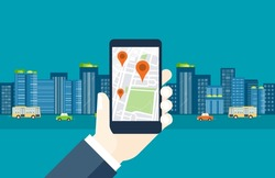 flat design  mobile for  business  location navigation concept and online map application