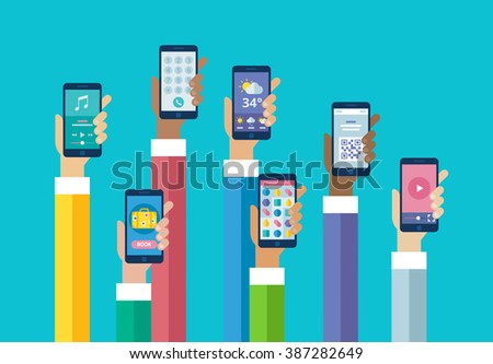 Flat design mobile phone apps. Hands holding smart phones. Music, booking, call, weather, game, ticket, video.