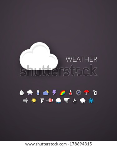 Flat design modern of brand identity style web and mobile design design element objects and collection vector illustration icons set 23 weather collection
