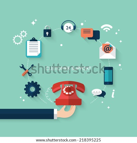 Flat design modern vector illustration concept for customer and technical support