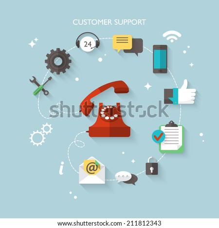 Flat design modern vector illustration concept for customer support service