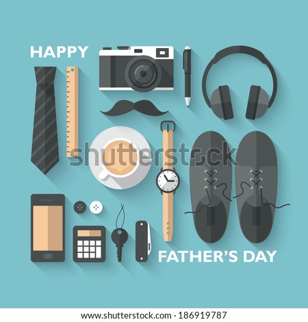 Flat design modern vector illustration concept for Father's day greeting card