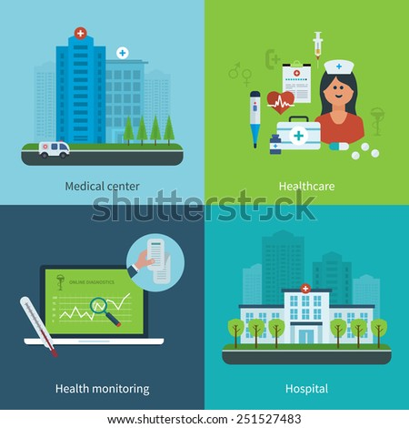 Flat design modern vector illustration concept for medical care, healthcare, health monitoring, medical center and hospital building
