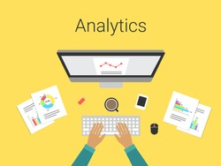 Flat design modern vector illustration concept of analytics and computing data analysis, charts and graphs. Analyst working. Isolated on stylish yellow background.