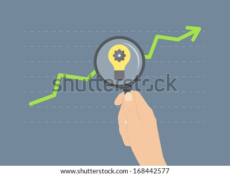 Flat design modern vector illustration concept of analyzing business rise, ideas for future growth, analytics of further financial and economic future. Isolated on stylish colored background