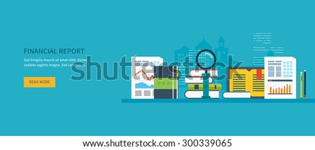Flat design modern vector illustration concept of analyzing project on business meeting, financial report, financial analytics, market research and planning documents