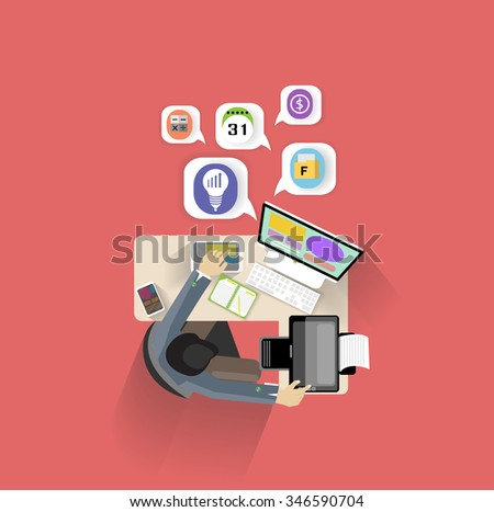 designer office desk isolated objects top view. flat design modern vector illustration concept of businessman creative office work space top view designer desk isolated objects k