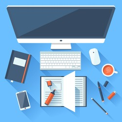Flat design modern vector illustration concept of creative office workspace, workplace. Top view of desk background with laptop, digital devices, office objects, books and documents with long shadows.