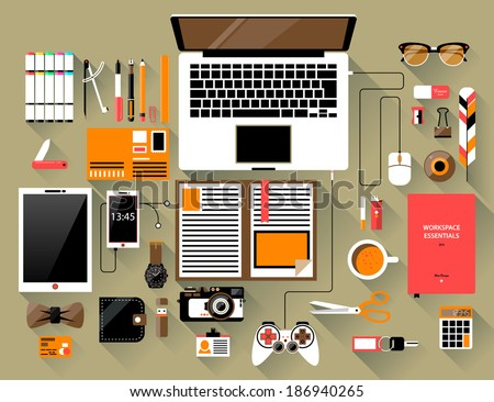 Flat design modern vector illustration concept of creative office workspace, workplace. Top view of desk background with laptop, digital devices, office objects, books and documents with long shadows