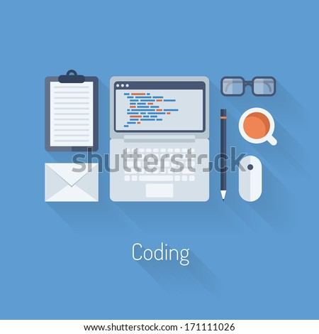 Flat design modern vector illustration concept of process web page coding and programming on laptop with workflow objects and icons. Isolated on stylish blue background