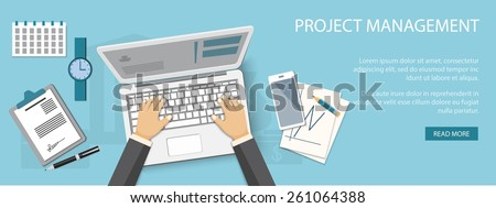 Flat design modern vector illustration concept of project management - eps10
