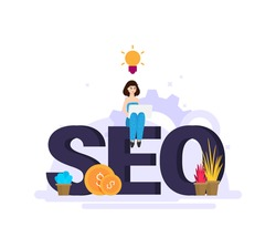 Flat design modern vector illustration concept of SEO word combined from elements and icons which symbolized a success internet searching optimization process. Concept with people, letters and icons.
