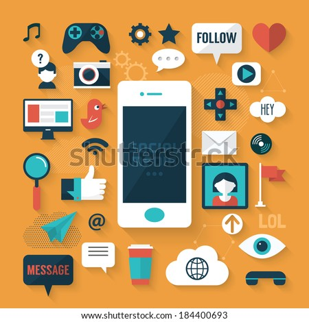 Flat design modern vector illustration concept of social media icons