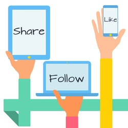 Flat design modern vector illustration concept of social media icons. Hands with simbols.