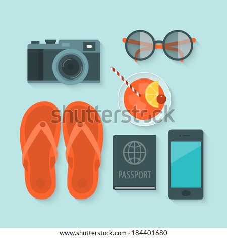 Flat design modern vector illustration concept of summer holiday icons