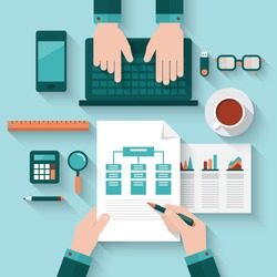 Flat design modern vector illustration concept of teamwork analyzing project on business meeting