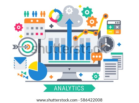 Flat design modern vector illustration concept of website analytics information tools.