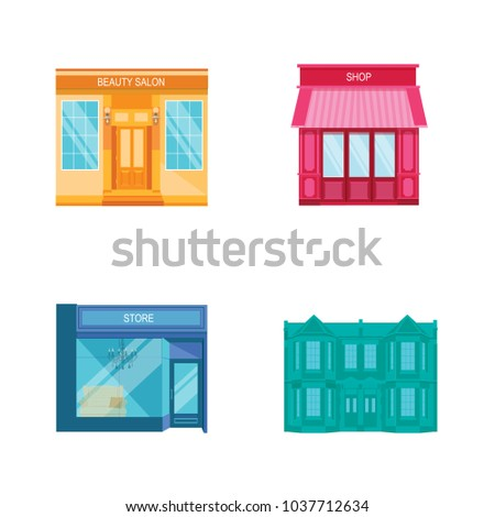 Shutterstock Flat design modern vector illustration different icons set of stores, shops, muffins. Building icons. Includes books store, boutique, bakery, candy shop, coffee shop, restaurant, barber shop, market