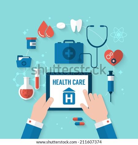Flat design modern vector illustration for health and medical care concept
