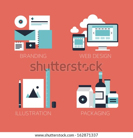 Flat design modern vector illustration icons set of brand identity style, web and mobile design, illustration objects and packaging design for company branding. Isolated on stylish red background.