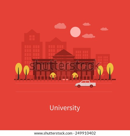 Flat design modern vector illustration icons set of urban landscape and education. School and university building icon