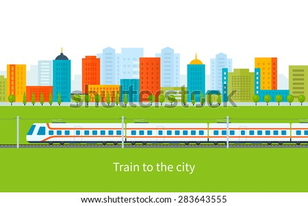 Flat design modern vector illustration icons set of urban landscape and train on railway