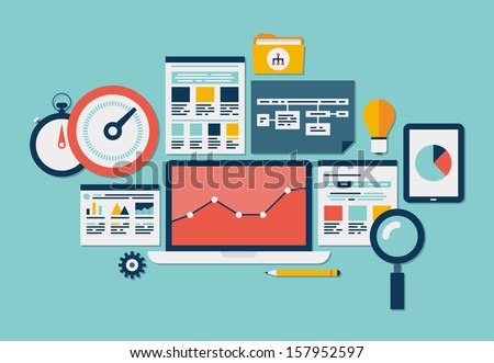 Flat design modern vector illustration icons set of website SEO optimization, programming process and web analytics elements. Isolated on stylish colored background