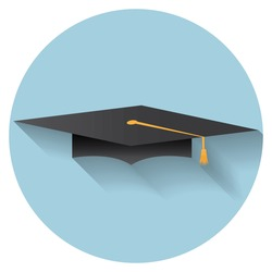 Flat design modern vector illustration of graduation cap icon.